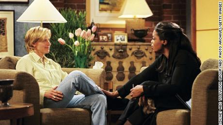 Ellen DeGeneres and Oprah Winfrey on the 'Ellen' episode when she first identifies as gay in 1997