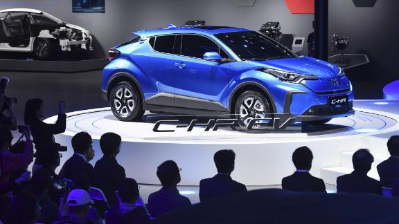 Toyota Motor Corp. introduces a new electric vehicle based on its C-HR at the International Automobile and Manufacturing Technology Exhibition in Shanghai on April 16, 2019. (Kyodo) ==Kyodo (Photo by Kyodo News via Getty Images)