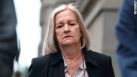 Georgina Challen court case. Sally Challen as she arrives at the Old Bailey ahead of a fresh trial for the death of her husband Richard Challen. Picture date: Friday June 7, 2019. Challen, 65, claims she suffered years of controlling and humiliating abuse before she killed 61-year-old Richard Challen in August 2010. The mother-of-two, who is known as Sally, had been jailed for life for the murder of the former car dealer following a trial at Guildford Crown Court in 2011, but the conviction was quashed last month. See PA story COURTS Johnson. Photo credit should read: Yui Mok/PA Wire URN:43371182 (Press Association via AP Images)