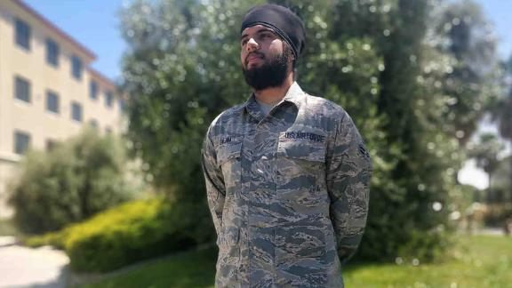 Harpreetinder Singh Bajwa, the first active duty airman granted a religious accommodation to allow him to wear a turban, beard and unshorn hair while serving.