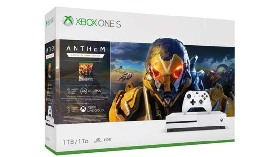 """The Anthem bundle includes the console, a controller, the game and a month of EA Access. <strong>Anthem Xbox One S 1TB Bundle ($249, originally $299; </strong><a href=""""https://click.linksynergy.com/deeplink?id=Fr/49/7rhGg&mid=24542&u1=0607xboxe32019&murl=https%3A%2F%2Fwww.microsoft.com%2Fen-us%2Fp%2Fxbox-one-s-1tb-console-anthem-bundle%2F8pz6792gn7q2%3Fcid%3Dmsft_web_collection%26activetab%3Dpivot%253aoverviewtab"""" target=""""_blank"""" target=""""_blank""""><strong>microsoft.com</strong></a><strong>)</strong><br />"""