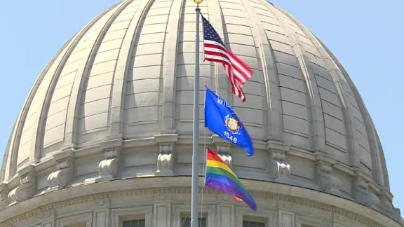 A pride flag flies at the Wisconsin Capitol on Friday.