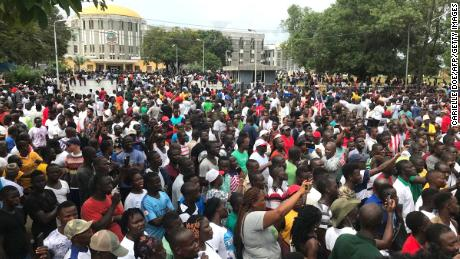 Demonstrators in Monrovia, Liberia, during an anti-government march to protest inflation and corruption.