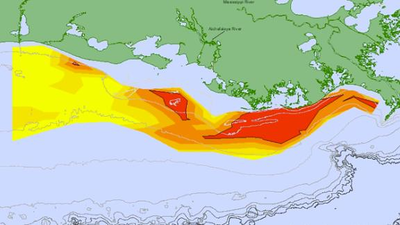 Oxygen concentrations in bottom water across the Louisiana shelf from July 23 -- July 30, 2018. Data source: N.N. Rabalais, Louisiana State University, Universities Marine Consortium, and R.E. Turner, LSU; funded by NOAA, National Centers for Coastal Ocean Science.