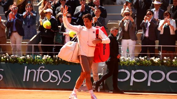 Federer, 37, bid adieu to the fans and said he didn't know if he would be back at Roland Garros next year.