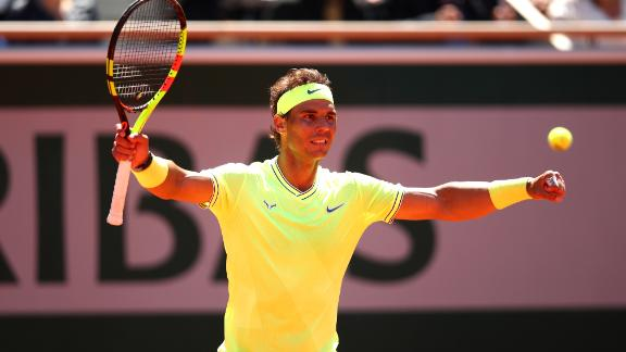 Nadal advanced to a 12th French Open final and will face either Novak Djokovic or Dominic Thiem. Their match was suspended in the third set.