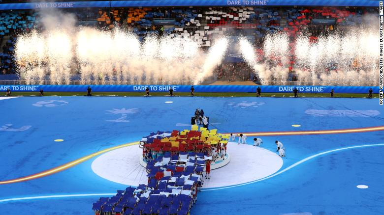 No opening ceremony is complete without pyrotechnics ...