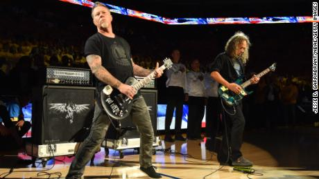 Musicians James Hetfield and Kirk Hammett of Metallica perform the national anthem prior at the NBA Finals