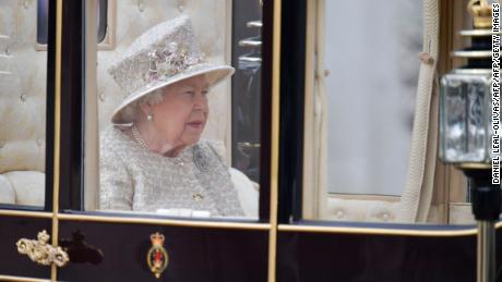 The Queen traveled down the Mall in a carriage.
