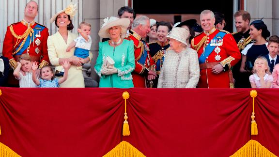 Britain's Queen Elizabeth, center, and members of the royal family attend the annual Trooping the Colour Ceremony in London, Saturday, June 8, 2019. Trooping the Colour is the Queen's Birthday Parade and one of the nation's most impressive and iconic annual events attended by almost every member of the Royal Family. (AP Photo/Frank Augstein)