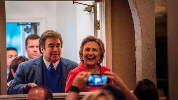 SCRANTON, PENNSYLVANIA - Former Secretary of State Hillary Clinton, followed by her brother, Tony Rodham, stop at Casa Bella Italian Restaurant in Scranton, Pennsylvania on Friday evening April 22, 2016. Hillary Clinton's father was born in Scranton, and she has family in the area. (Photo by Melina Mara/The Washington Post via Getty Images)