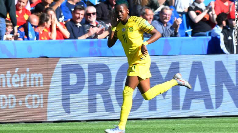 South African forward Thembi Kgatlana celebrates after scoring a goal of the tournament candidate early in the match on Saturday.
