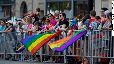 People watch the Capital Pride Parade in Washington on Saturday.
