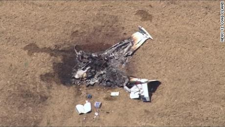 A dog escaped a fiery small plane crash that killed two people Saturday in Long Island.