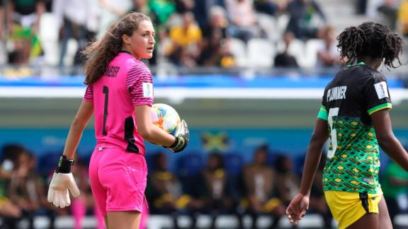 Jamaica goalkeeper Sydney Schneider, left, holds the ball during the Women's World Cup Group C soccer match between Brazil and Jamaica on Sunday.