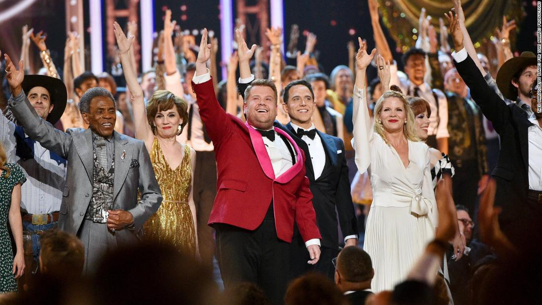 Tonys host James Corden performs during the opening number.