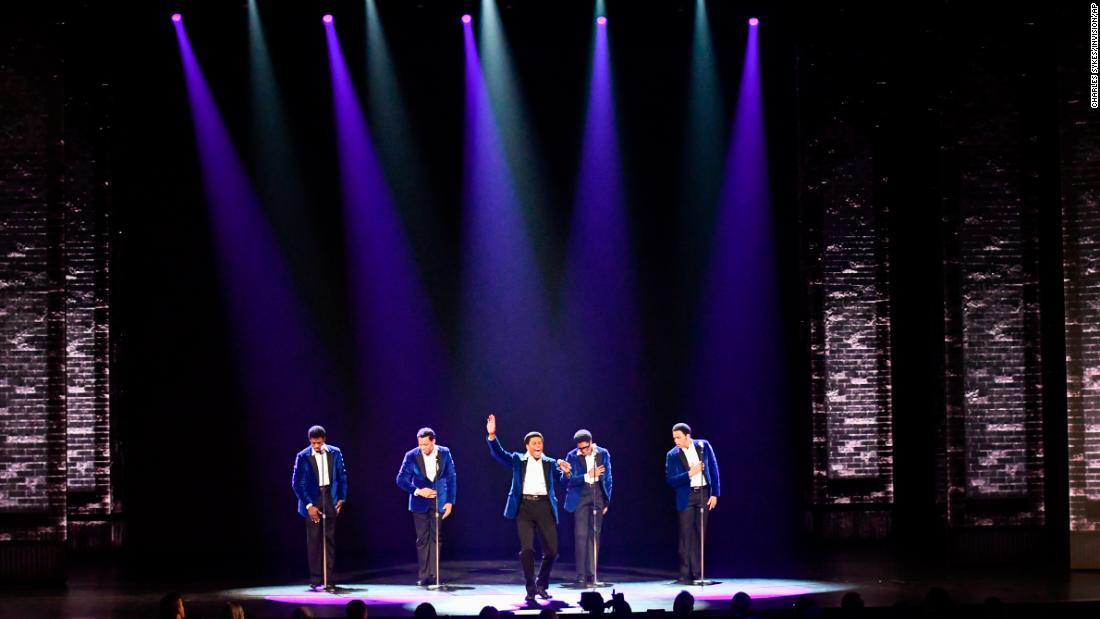 "The cast of ""Ain't Too Proud - The Life and Times of The Temptations"" performs during the Tony Awards."