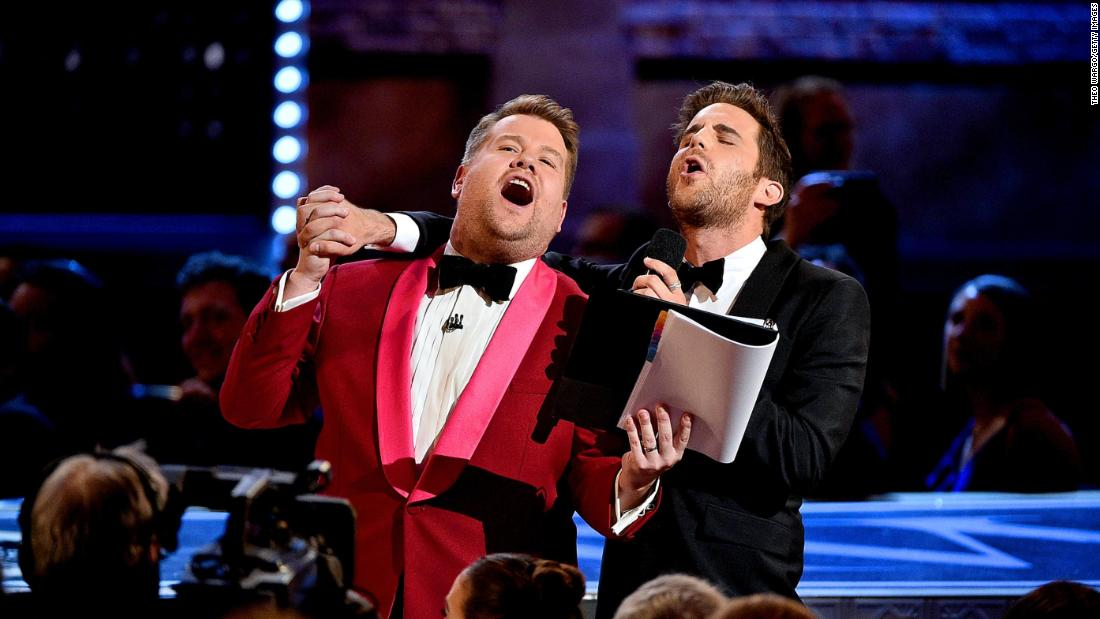 James Corden and Ben Platt sing together at the Tony Awards.