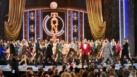 James Corden performs onstage during the opening number of the 2019 Tony Awards.