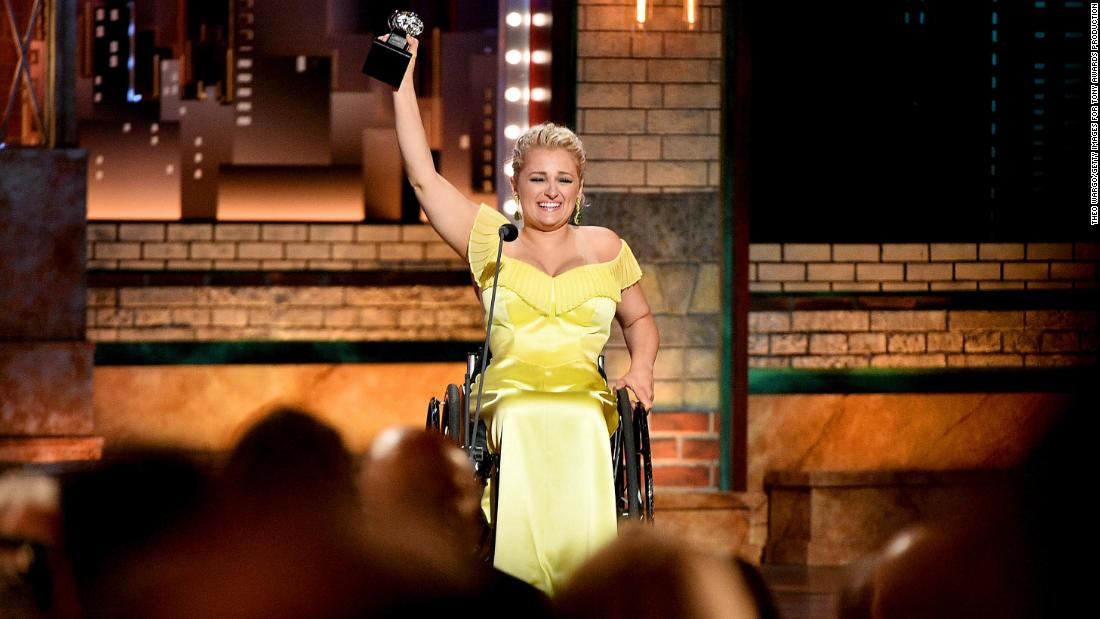 "Ali Stroker accepts the best performance by an actress in a featured role in a musical award for Rodgers & Hammerstein's ""Oklahoma!"""