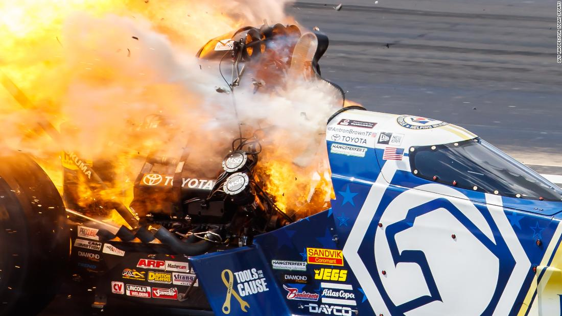 NHRA top fuel driver Antron Brown explodes an engine during the Route 66 Nationals at Route 66 Raceway in Joliet, Illinois, on June 2, 2019.