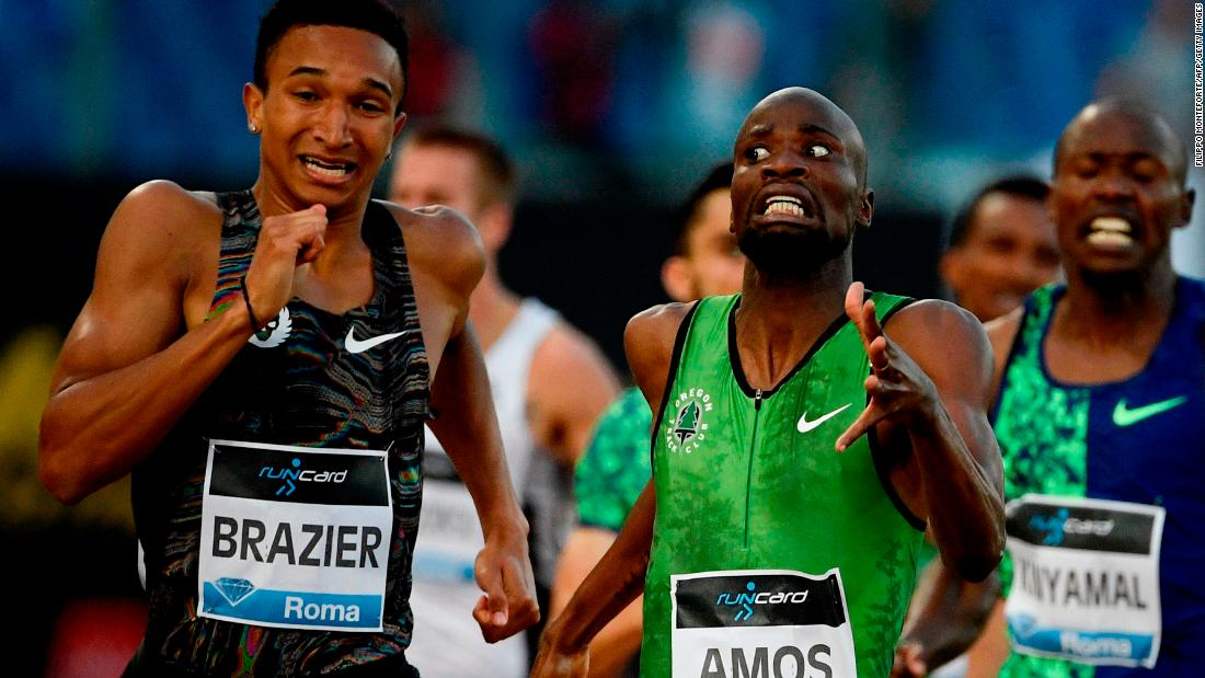 USA's Donovan Brazier, left, competes on his way to win the Men's 800m ahead of Botswana's Nijel Amos, center, during the IAAF Diamond League competition on June 6, 2019 at the Olympic stadium in Rome.