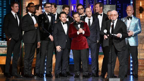 """Mart Crowley accepts the award for best revival of a play for """"The Boys in the Band."""""""