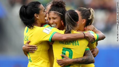 GRENOBLE, FRANCE - JUNE 09: Cristiane of Brazil celebrates with teammates after scoring her team's third goal during the 2019 FIFA Women's World Cup France group C match between Brazil and Jamaica at Stade des Alpes on June 09, 2019 in Grenoble, France. (Photo by Elsa/Getty Images)