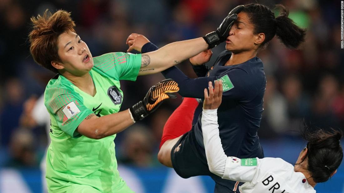 South Korea's goalkeeper Min-Jeong Kim, left, vies with France's forward Valerie Gauvin during the France 2019 Women's World Cup Group A football match between France and South Korea, on June 7, 2019, at the Parc des Princes stadium, in Paris.