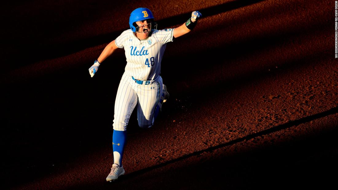 Bubba Nickles of the UCLA Bruins celebrates after hitting a home run against the Oklahoma Sooners during the Division I Women's Softball Championship held at ASA Hall of Fame Stadium-OGE Energy Field on June 4, 2019 in Oklahoma City, Oklahoma.