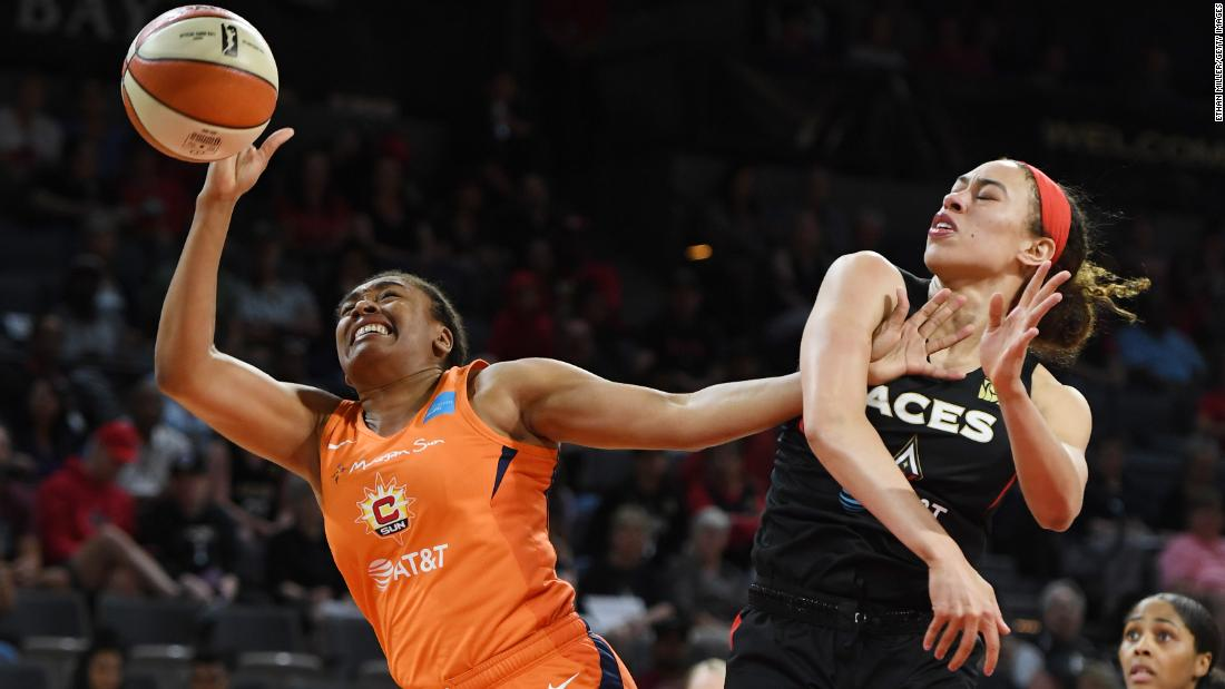 Dearica Hamby #5 of the Las Vegas Aces blocks a shot by Morgan Tuck #33 of the Connecticut Sun during their game at the Mandalay Bay Events Center on June 2, 2019 in Las Vegas, Nevada.