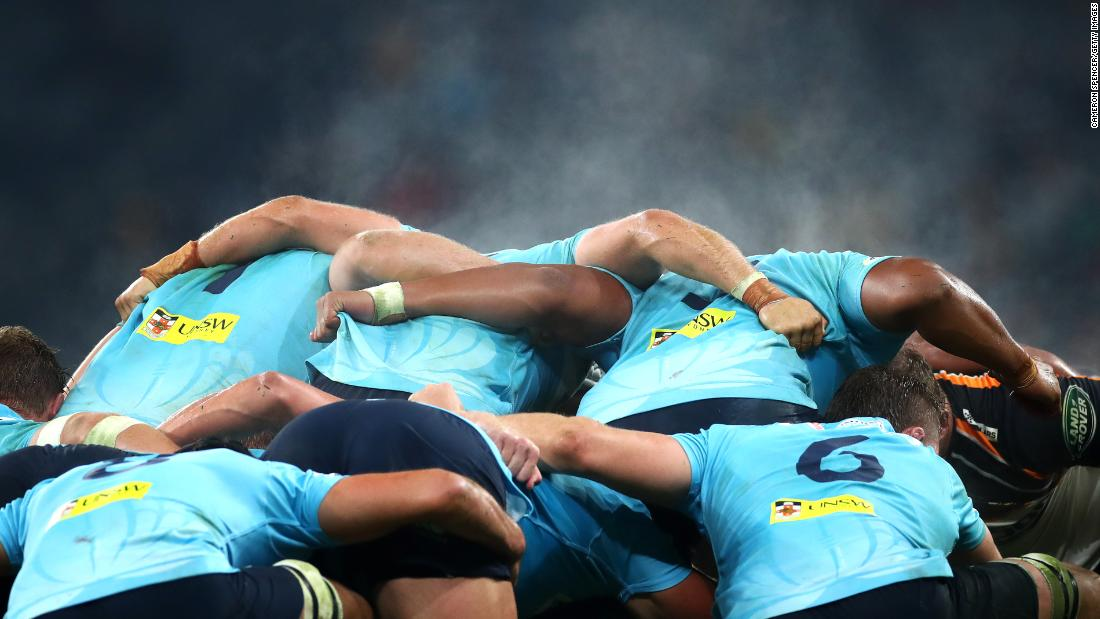 Steam rises from a scrum during the round 17 Super Rugby match between the Waratahs and the Brumbies at Bankwest Stadium on June 8, 2019 in Sydney, Australia.