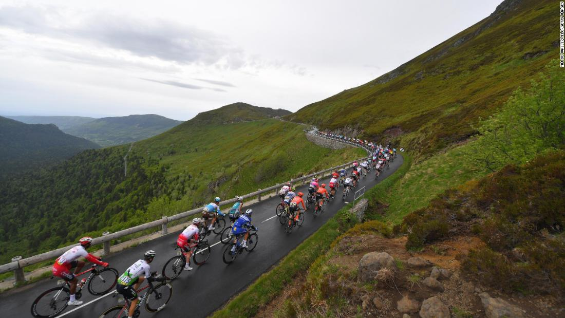 Jacques Janse van Rensburg of South Africa and Team Dimension Data / Zdenek Stybar of Czech Republic and Team Deceuninck-QuickStep / Puy Mary (1589m)/ Landscape / Mountains / Peloton / during the 71st Criterium du Dauphine 2019, Stage 1 a 142km stage from Aurillac to Jussac on June 9, 2019 in Jussac, France.