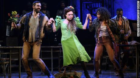 """Timothy Hughes, Amber Gray and Afra Hines during the Broadway Press Performance Preview of """"Hadestown"""" in 2019."""
