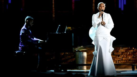 Cynthia Erivo sings during the In Memoriam portion of the show.
