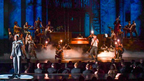 """The cast of """"Hadestown"""" performs during the Tony Awards."""