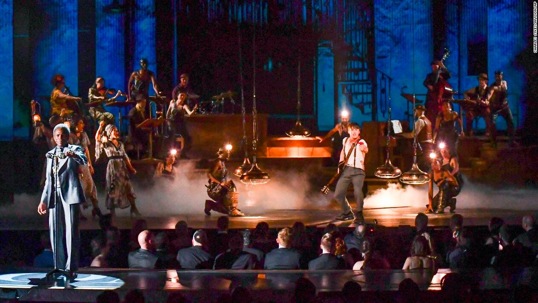 "The cast of ""Hadestown"" performs during the Tony Awards."