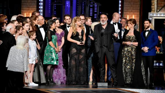 """Jez Butterworth, along with the cast and crew of """"The Ferryman,"""" accepts the award for Best Play."""