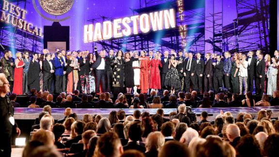 """The cast and crew of """"Hadestown"""" accept the award for Best Musical during the 2019 Tony Awards at Radio City Music Hall in New York City on June 9. """"Hadestown"""" had a big night, winning eight awards."""