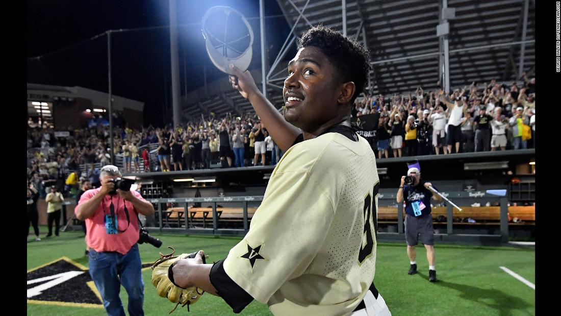 Vanderbilt Kumar Rocker (80) celebrates his no-hitter, beating Duke 3-0 in the NCAA Division I Baseball Super Regionals at Hawkins Field Saturday, June 8, 2019, in Nashville, Tennessee.