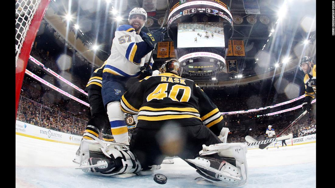 Tuukka Rask #40 of the Boston Bruins allows a second period goal to Ryan O'Reilly (not pictured) #90 of the St. Louis Blues in Game Five of the 2019 NHL Stanley Cup Final at TD Garden on June 6, 2019 in Boston.