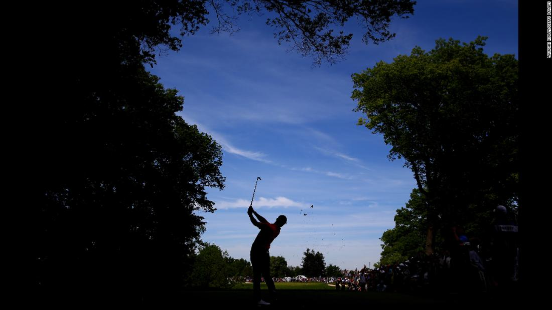 Rory McIlroy of Northern Ireland plays his shot from the eighth tee during the final round of the RBC Canadian Open at Hamilton Golf and Country Club on June 9, 2019 in Hamilton, Canada.
