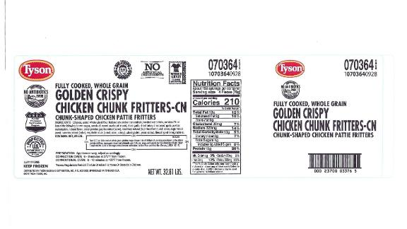 Recalled Tyson Fully Cooked, Whole Grain Golden Crispy Chicken Chunk Fritters bear this label.