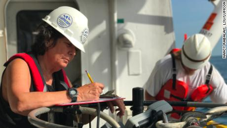 Nancy Rabalais on the July 2017 Gulf of Mexico dead zone research cruise.