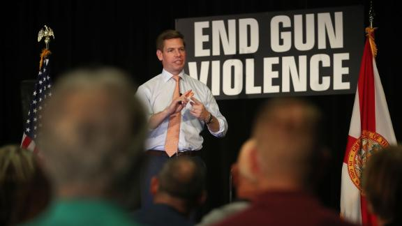Swalwell speaks in Sunrise, Florida, during a town hall on gun violence in April 2019.