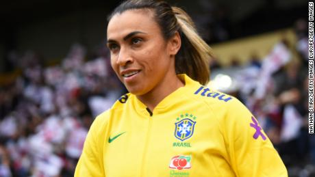NOTTINGHAM, ENGLAND - OCTOBER 06: Marta of Brazil leads her team out during the International Friendly match between England Women and Brazil Women at Meadow Lane on October 6, 2018 in Nottingham, England. (Photo by Nathan Stirk/Getty Images)