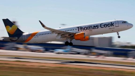 27 April 2019, Spain, Palma: A Thomas Cook plane takes off from Palma Airport. The number of foreign tourists in Spain again reached a record level last year. Mallorca is particularly popular with Germans. Photo: Clara Margais/dpa (Photo by Clara Margais/picture alliance via Getty Images)