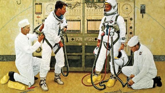 """Norman Rockwell's painting """"Grissom and Young."""""""