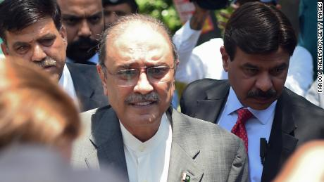 Former Pakistani President Asif Ali Zardari arrives Monday for his bail appeal at Islamabad High Court.