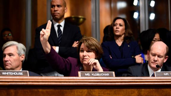 Klobuchar and other members of the Senate Judiciary Committee attend a hearing about Supreme Court nominee Brett Kavanaugh in September 2018.